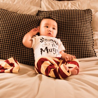 Getting comfy in our new wizarding PJ set at Fairmont Hotels!