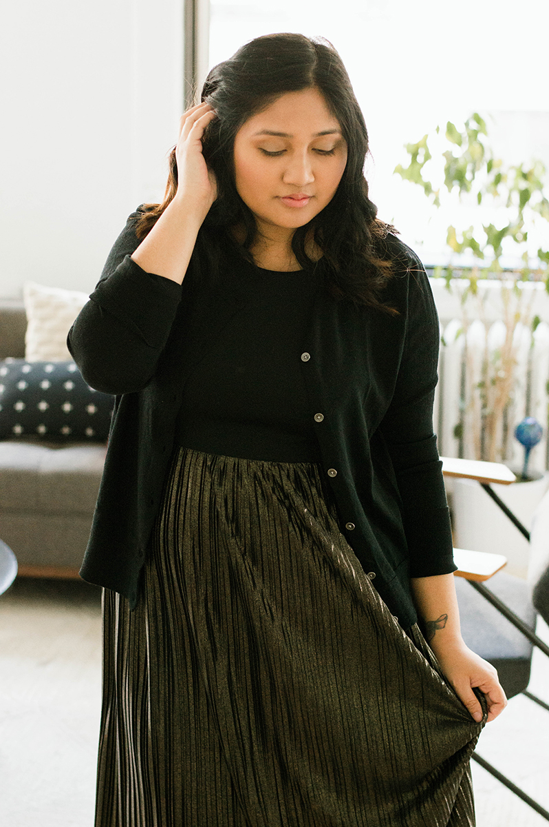Keeping it shiny, pleated, and sophisticated for this year's holiday wardrobe.