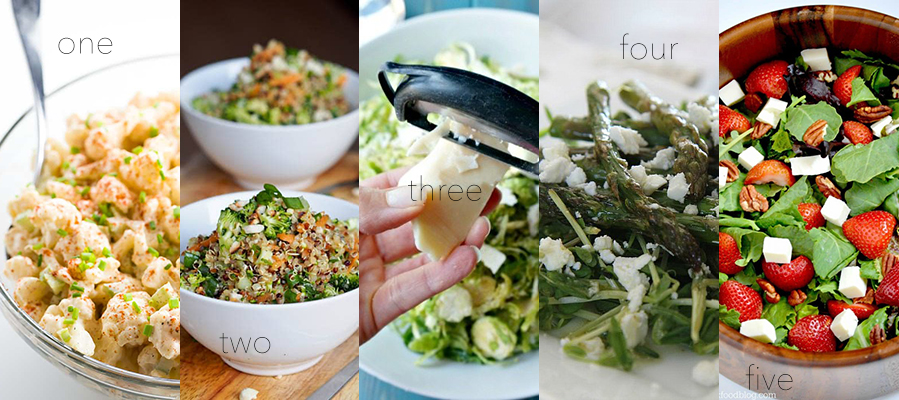 Delicious salads that'll actually have you wanting more. Here are five of my faves.
