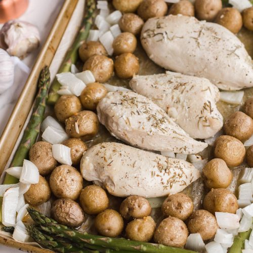 Sheet Pan Chicken Dinner with Potatoes and Asparagus
