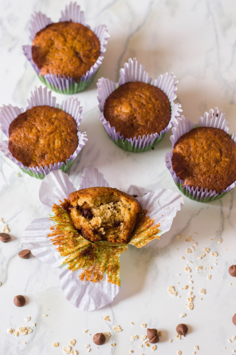 These Chocolate Chip Oatmeal Muffins make for a delicious breakfast for the entire family. They've been my fave since I was a wee little one!