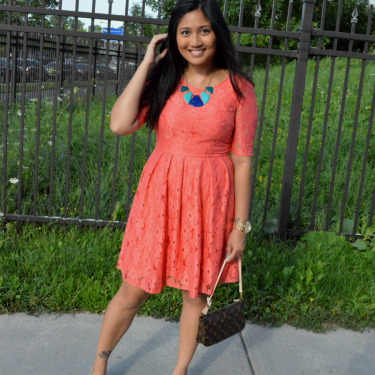 Sporting coral to a 10-year reunion