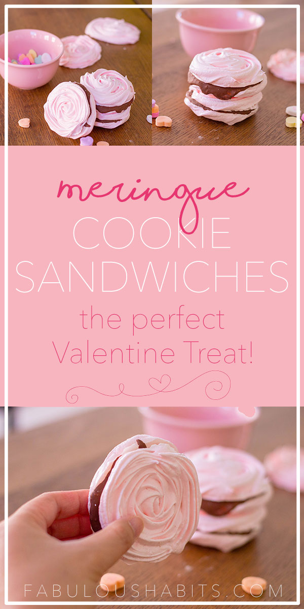 These meringue cookies are the perfect treat for Valentine's Day! The chocolate center also adds a delicious touch! #valentinedessert
