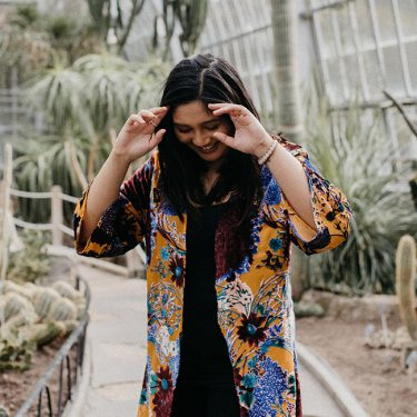Kimono comfort for a bright, playful, and colourful look.