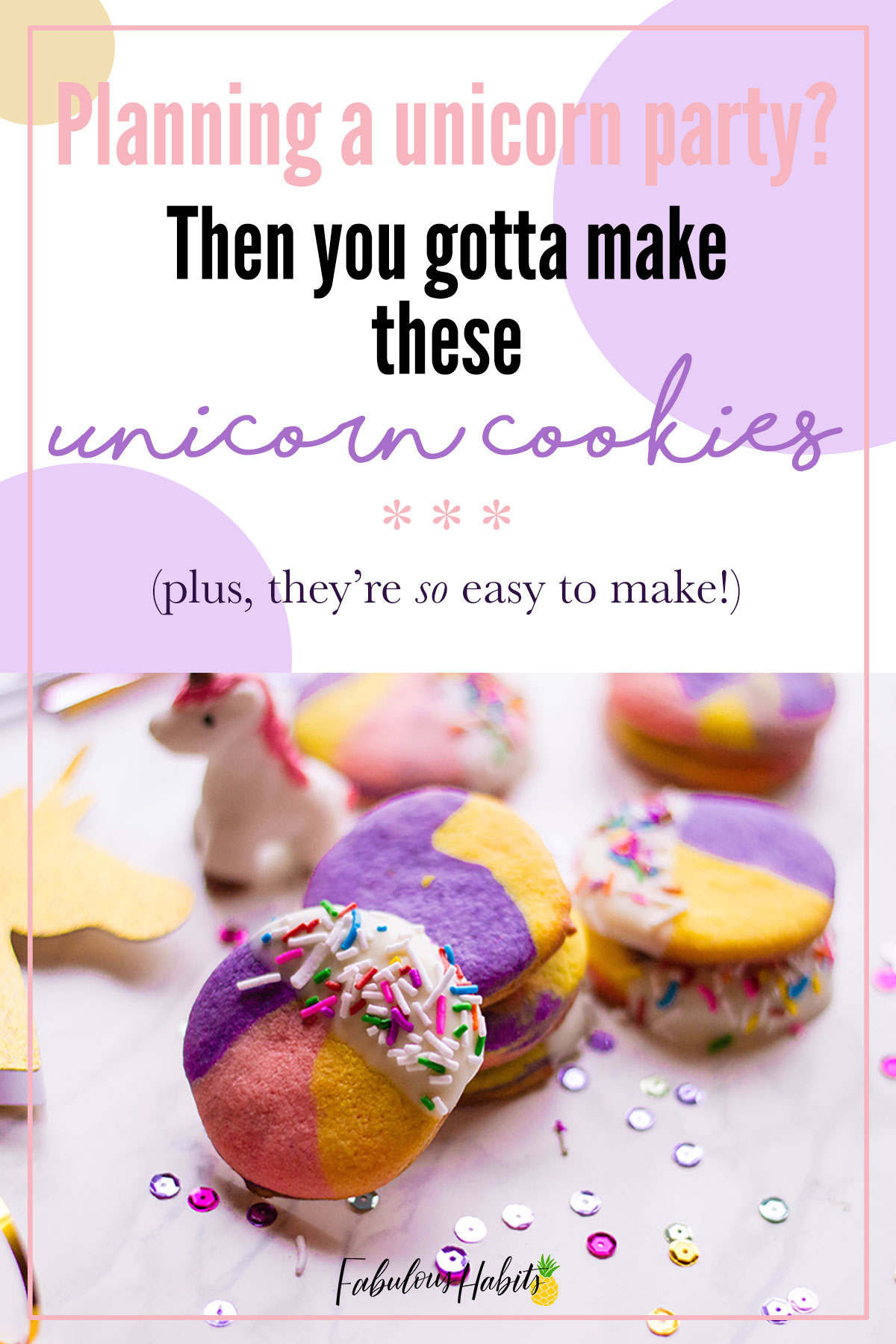 If you're planning a unicorn party, then these tri-colored unicorn cookies are something you'll have to make! So colorful and so sweet! #unicorncookies