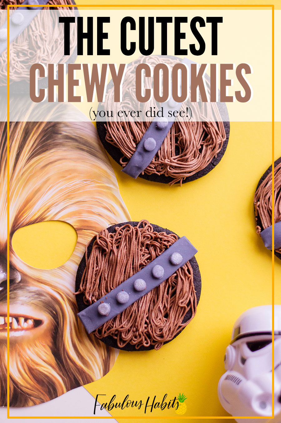 These are seriously the cutest Chewbacca cookies you'll ever see. Complete with buttercream fur and a fondant sash, these treats are perfect for any Star Wars fan. #chewbaccacookies