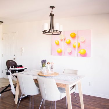 This is how I decorated our dining room to keep it stylish and still kid-friendly. Ladies and gents, I present to you: our dining room reveal.