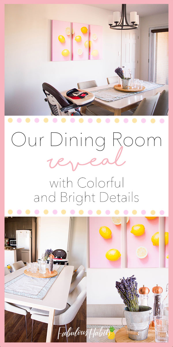 Add bright and colorful details to your dining room with artwork and florals! Ladies and gents, I present to you our bright dining room reveal. #diningroomideas #decorideas