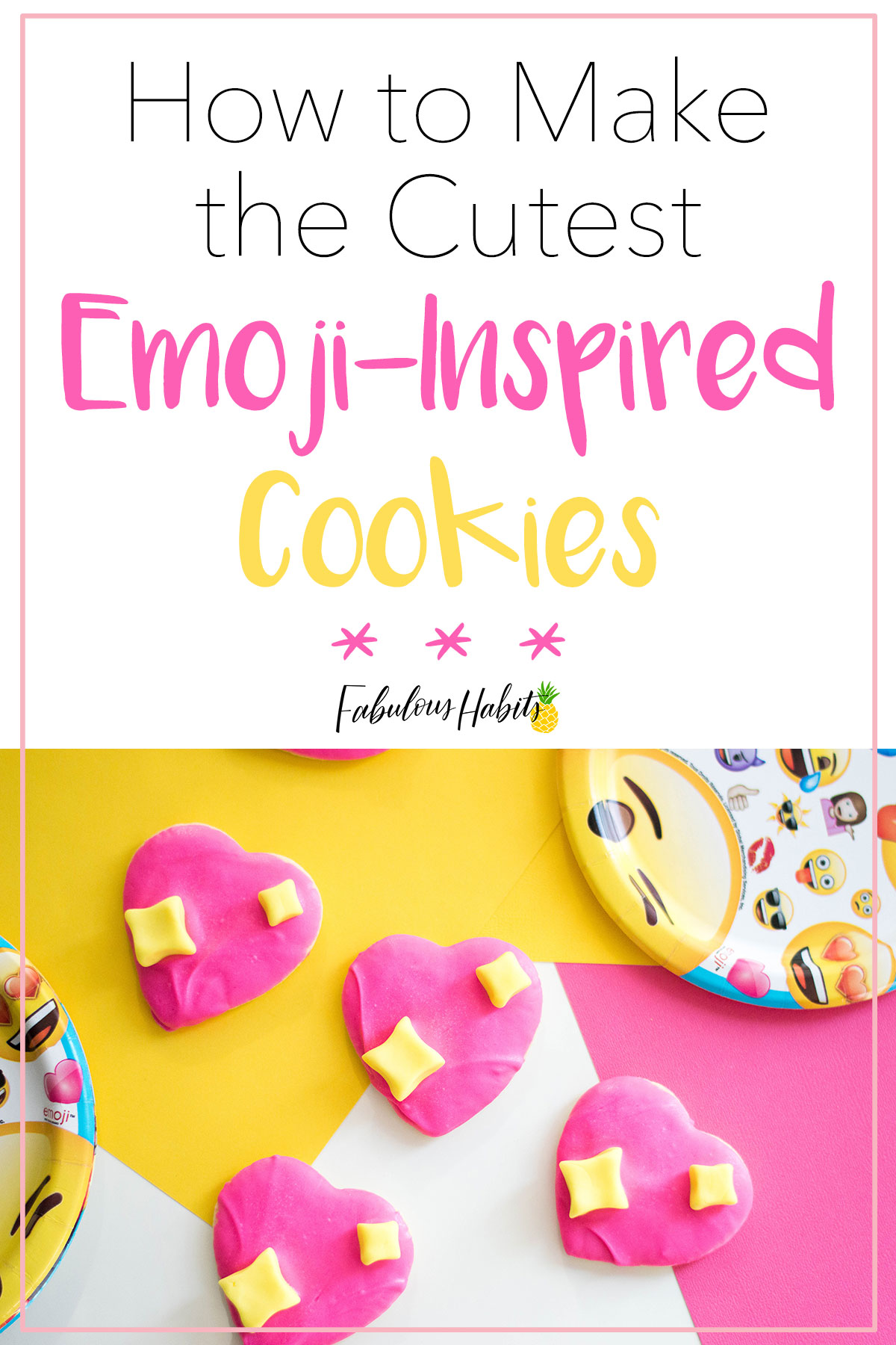 Planning an Emoji-Themed birthday party? Then you gotta make my Emoji Cookies - inspired by the Sparkling Heart Emoji! #emojicookies