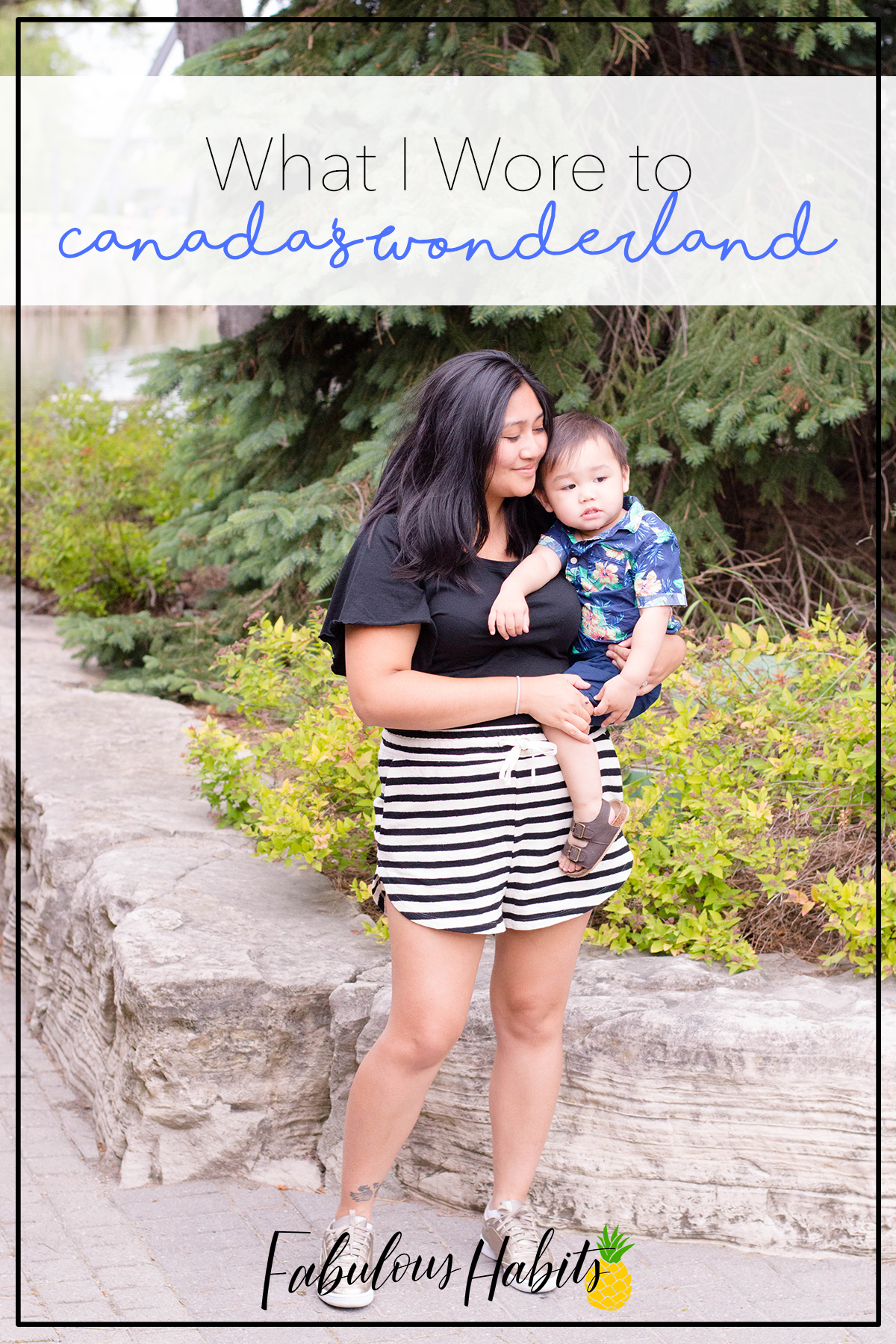 Stripes and gold for the win. Comfy, versatile, and ultra cute: this is what I wore to Canada's Wonderland. (P.S. Elastic-waist shorts for the win!)