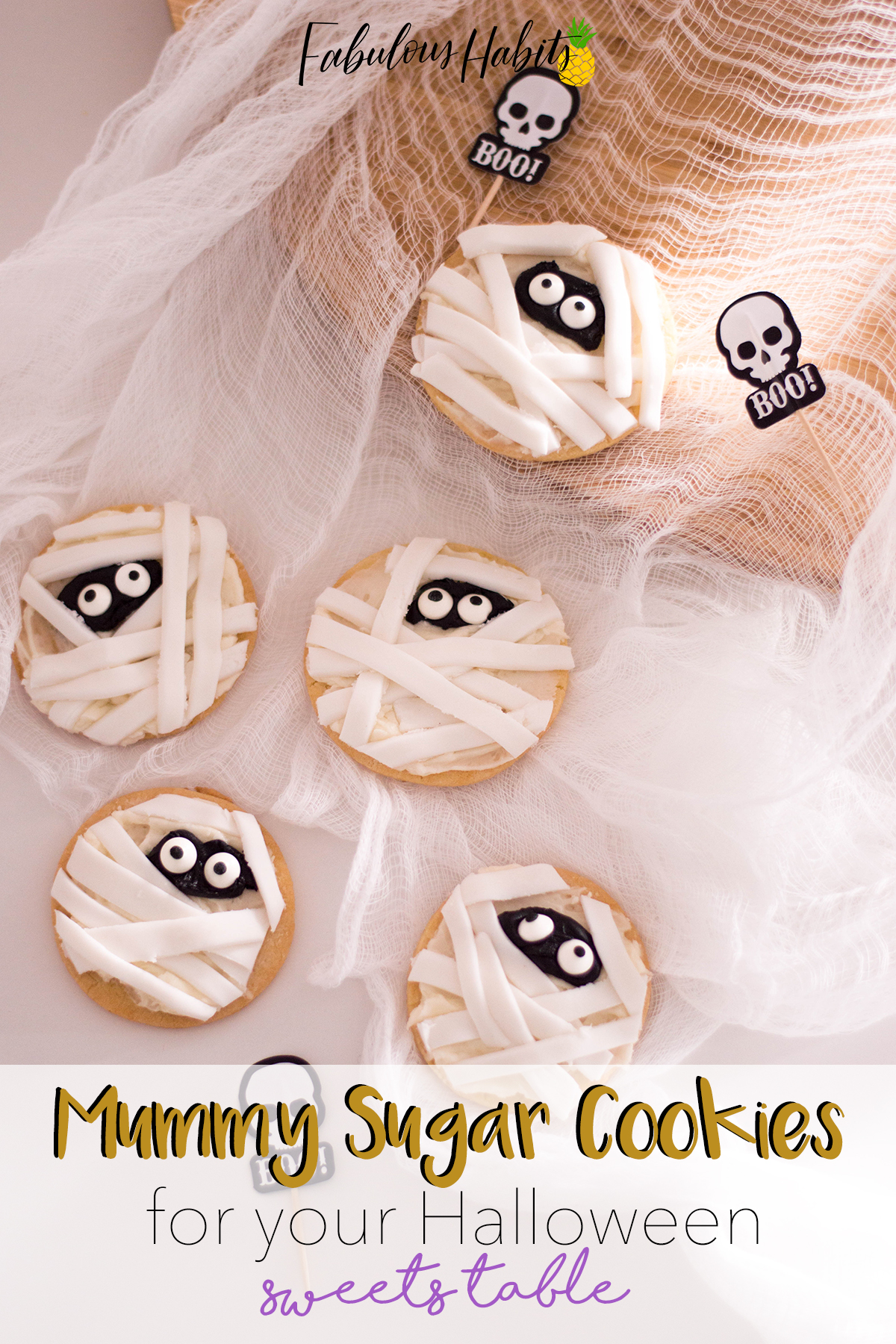 Giving my sugar cookies a Halloween makeover! My Mummy Sugar Cookies are filled with buttercream and topped with fondant bandages. Yum!