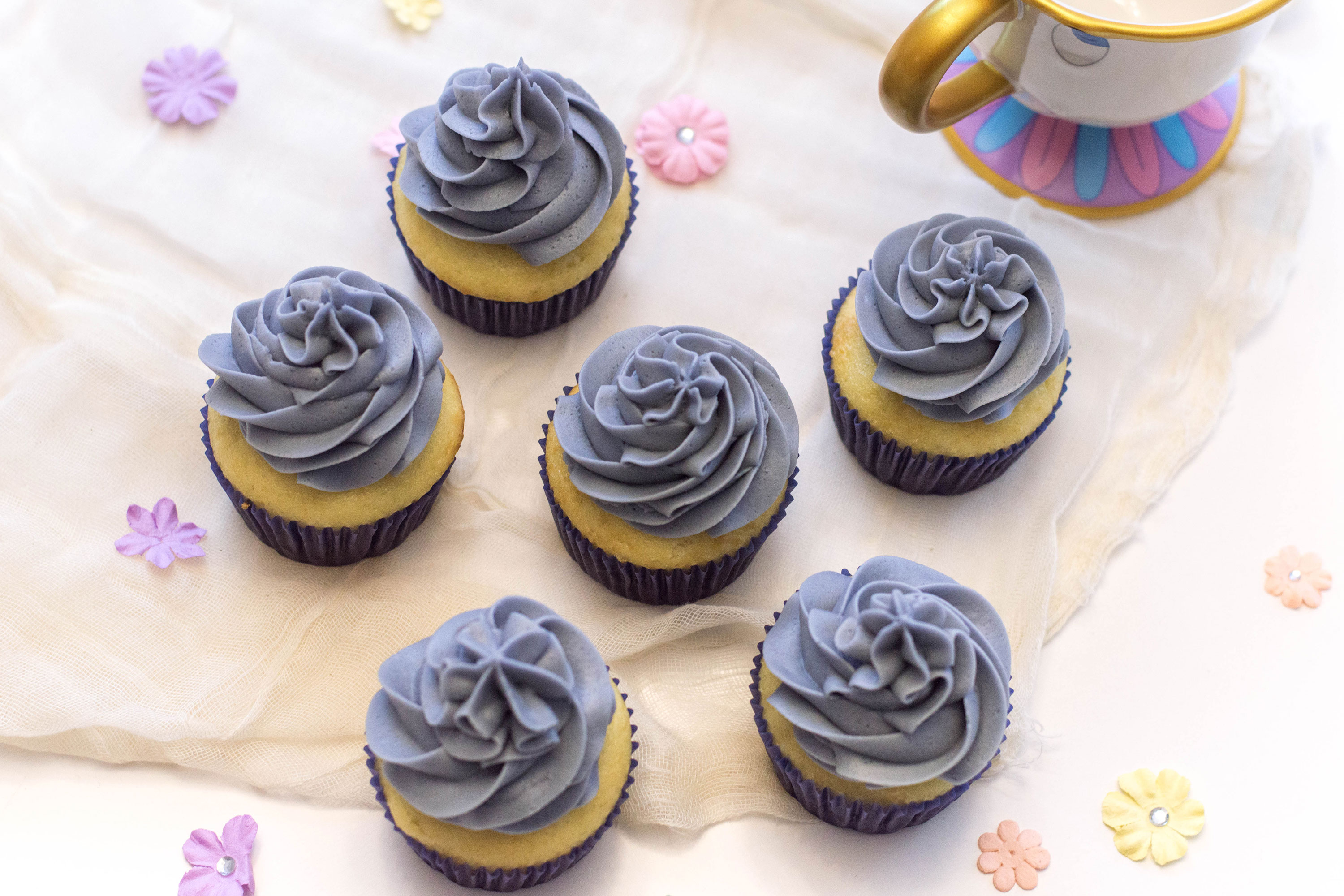 These cupcakes are topped with my classic buttercream frosting and today, we're going Disney-inspired. Here are a batch of cupcakes based on 'The Grey Stuff' from DIsney's classic film!