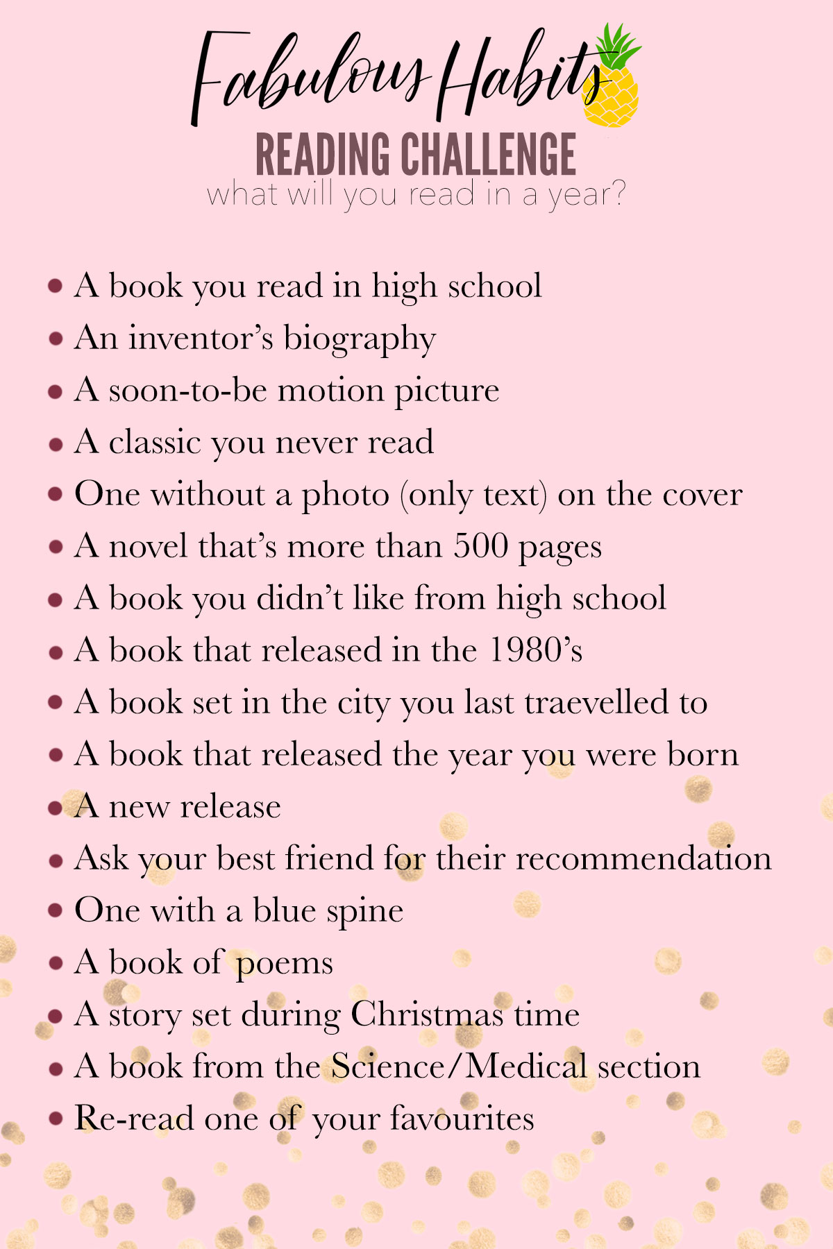 A list of books to read within the new year.