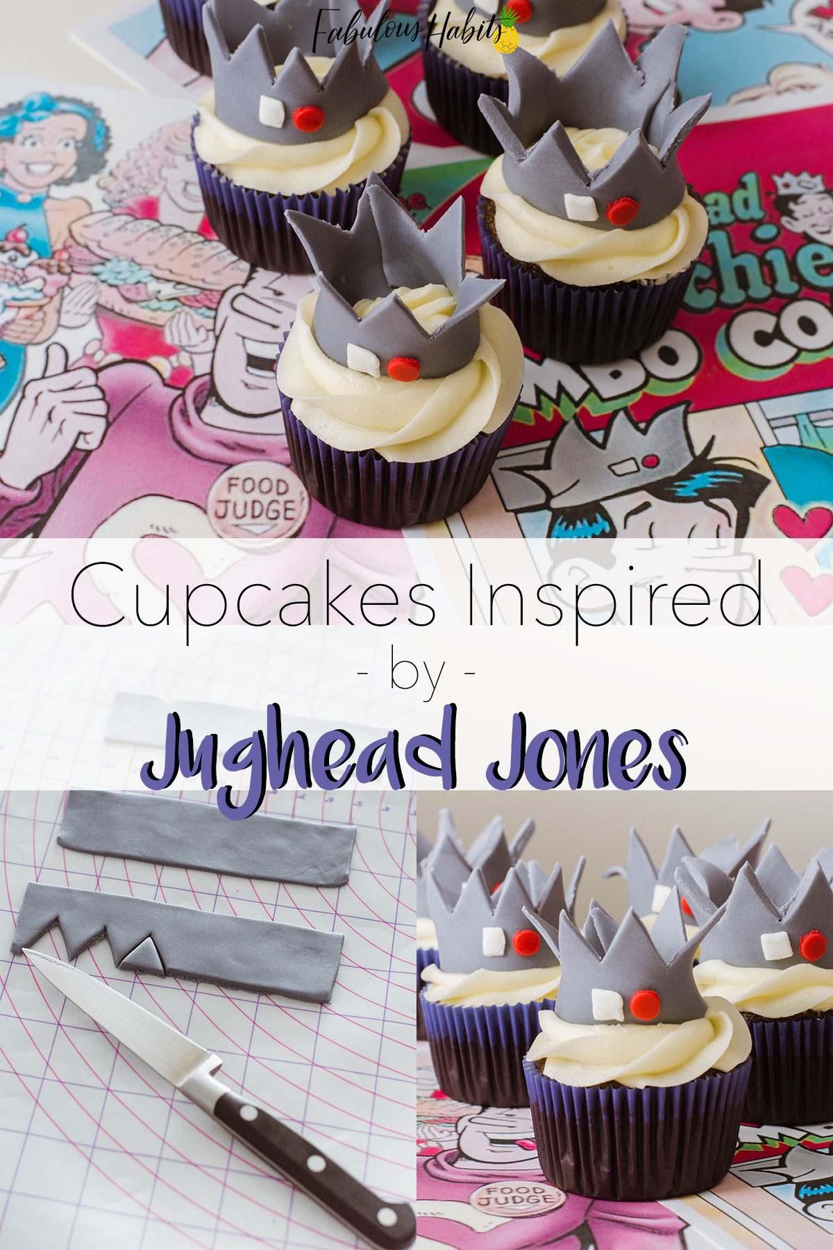 Homemade cupcakes inspired by Jughead and Riverdale.
