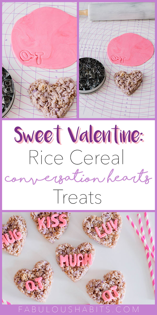 These rice cereal treats are disguised as Conversation Hearts for this year's Valentine's celebrations.