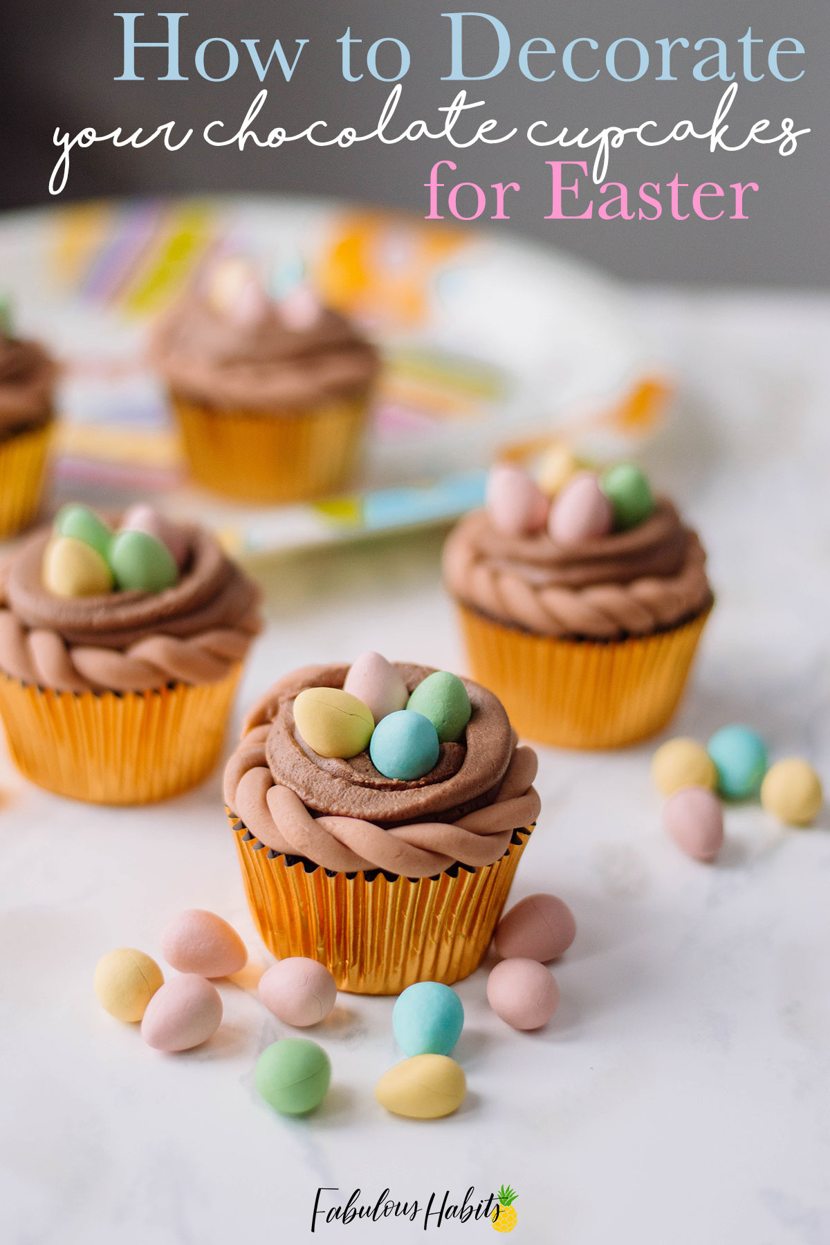 A delicious batch of chocolate cupcakes adorned with a generous amount of mini candy eggs. Perfect for Easter!