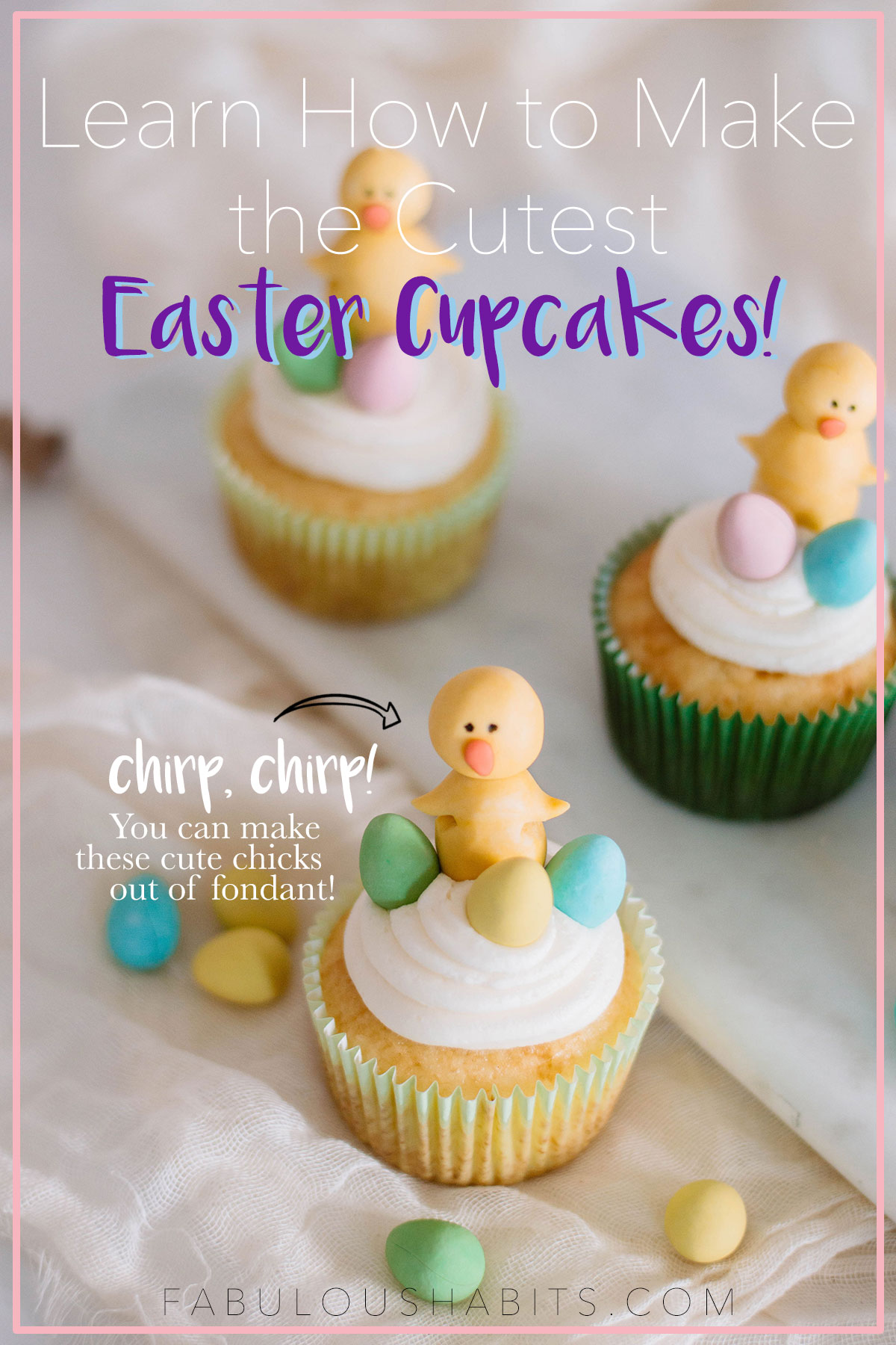 Learn how to make the cutest easter cupcakes: these vanilla cupcakes are topped with a fondant spring chick. What'cha waiting for?! Your kiddos will adore these! #eastercupcakes