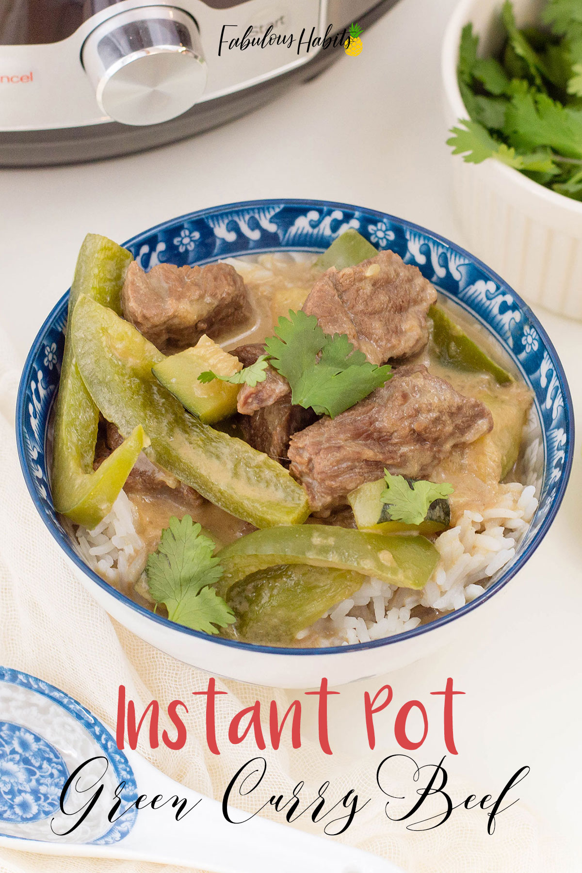 Craving something a little more on the exotic side? This recipe for Thai Green Curry Beef is absolutely delicious and it's SO easy to make in the Instant Pot! #easyinstantpotrecipes