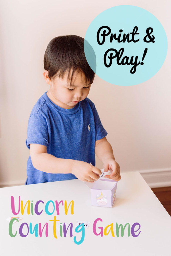 This unicorn-themed printable is a great way to encourage your toddler to count. Start their learning early with this toddler activity - full of unicorn magic! #toddleractivity