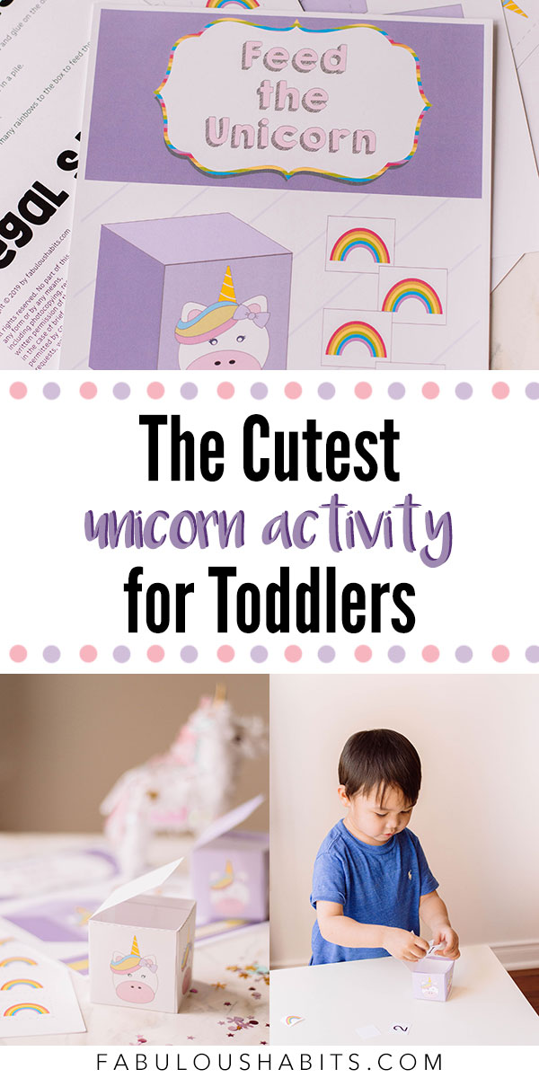 This printable is the cutest unicorn activity, ever! It will also encourage your toddler to start counting - which is a huge plus (no pun intended)! #toddleractivity