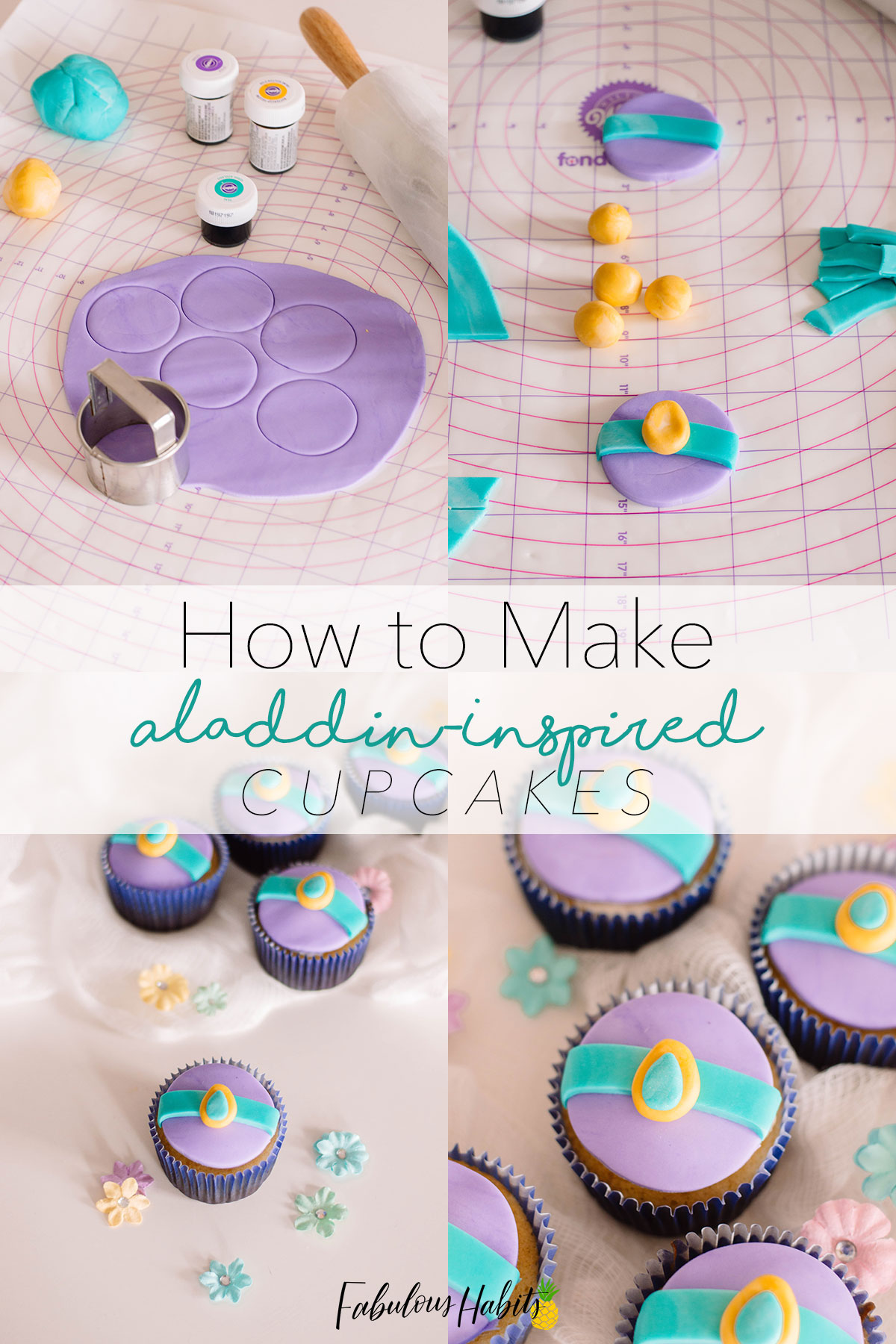 Indescribable feeling! These Jasmine Cupcake Toppers are totally inspired by Aladdin and are so easy to make! #aladdincupcakes
