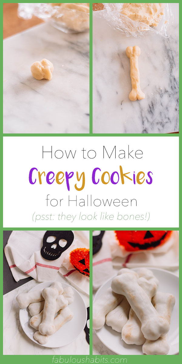 Here's how to make creepy Bones Cookies for Halloween - they're delicious AND creepy! #halloweendessert