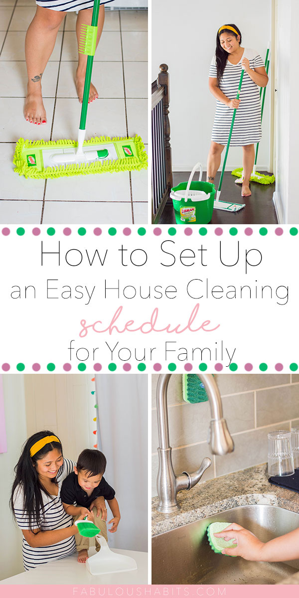 Here's how to set up your own easy house cleaning schedule - so easy, in fact, that everyone can join along and lend a hand! (Yup, even the kids!) #cleaningschedule #cleanhouse