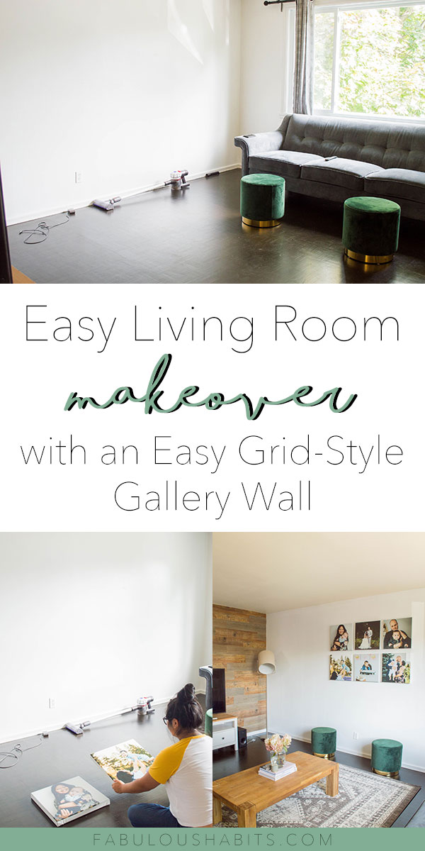 Ladies and gents, I present to your our living room makeover. We made it all possible with an easy peasy grid gallery wall layout. Here's our guide to create your own! #gallerywall