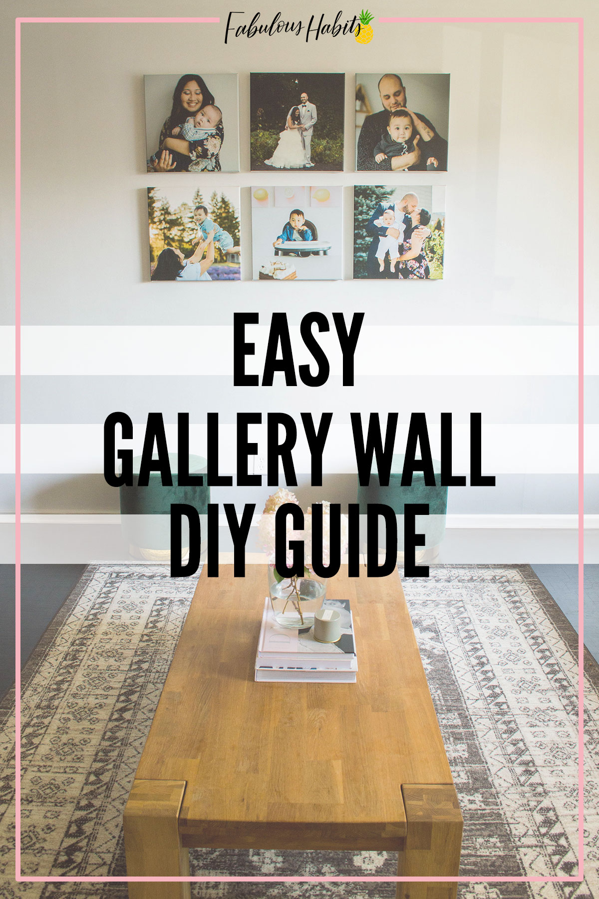 A beginner's guide to an easy gallery wall. The grid style layout is easy to put together and creates a beautiful impact to any room. #gallerywall