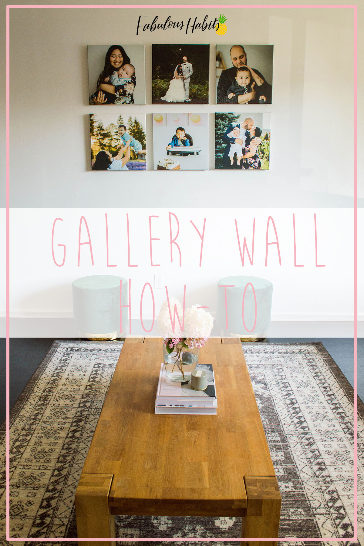 Here's an easy gallery wall how-to. This simple way of arranging a gallery wall is impactful and so simple! #homedecor #DIYdecor