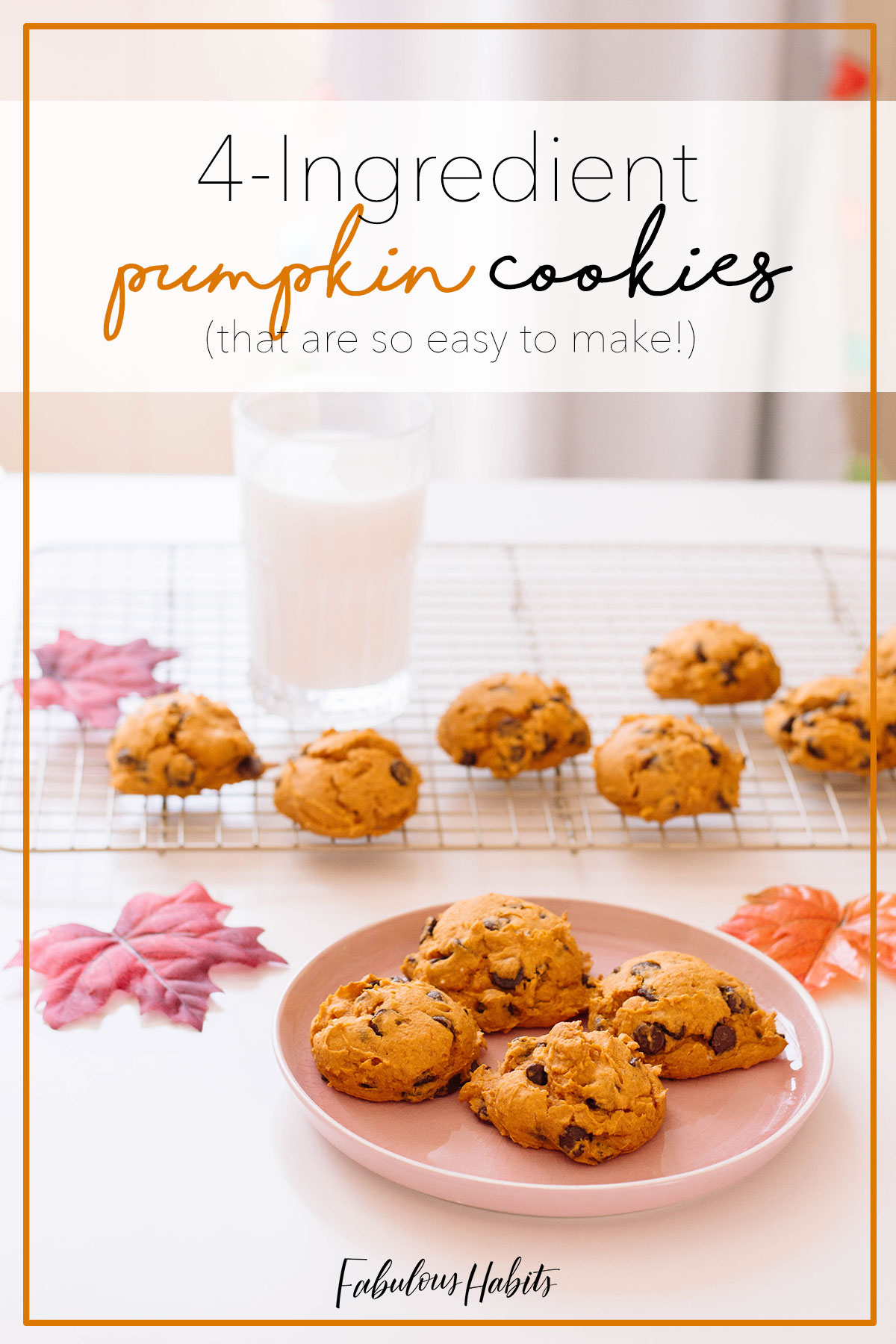 I can't get over how easy these pumpkin cookies are to make! Just 4 simple ingredients and 25 minutes of your time then, BAM! You've got pumpkin cookies that the entire family will surely love! #pumpkincookies