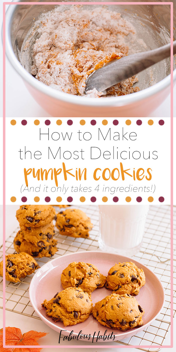 Here's our step-by-step instructions on how to make the most delicious pumpkin cookies. And you know what's even better? All it takes is 4 ingredients to whip-up these delicious treats! #pumpkincookies