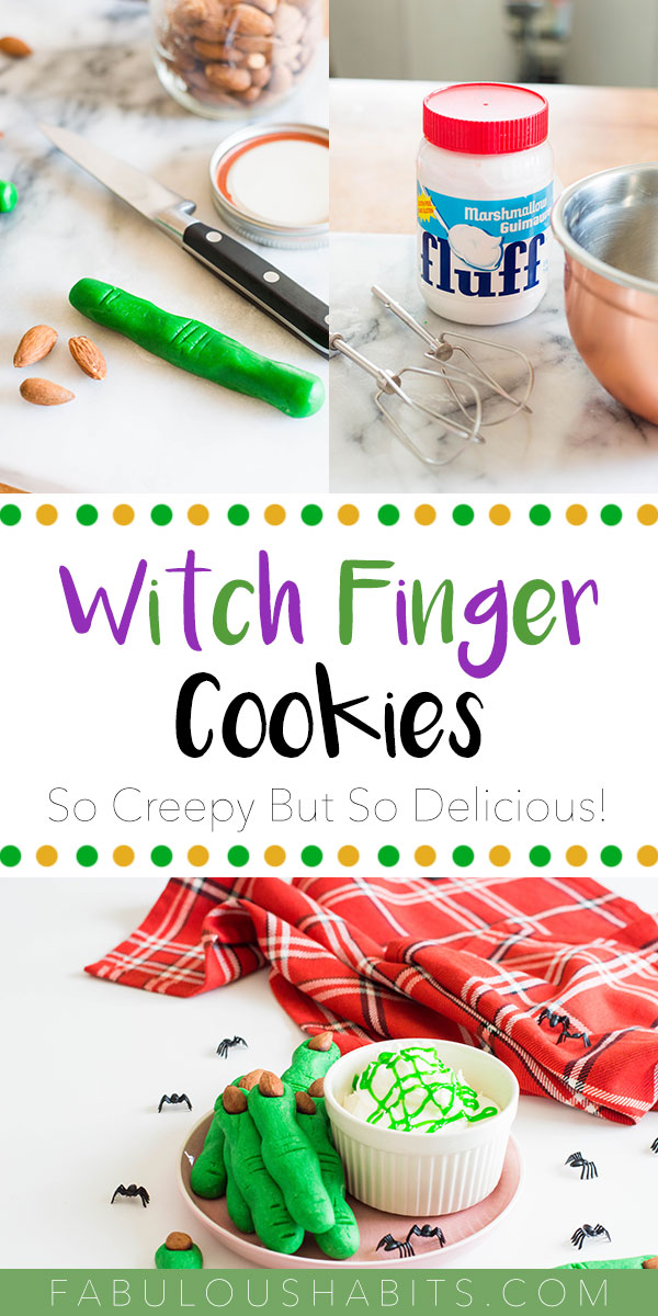 How to Make Witch Finger Cookies: lots of green gel food coloring, almonds and creepiness! Check out our recipe for this classic Halloween cookie #HalloweenDesserts