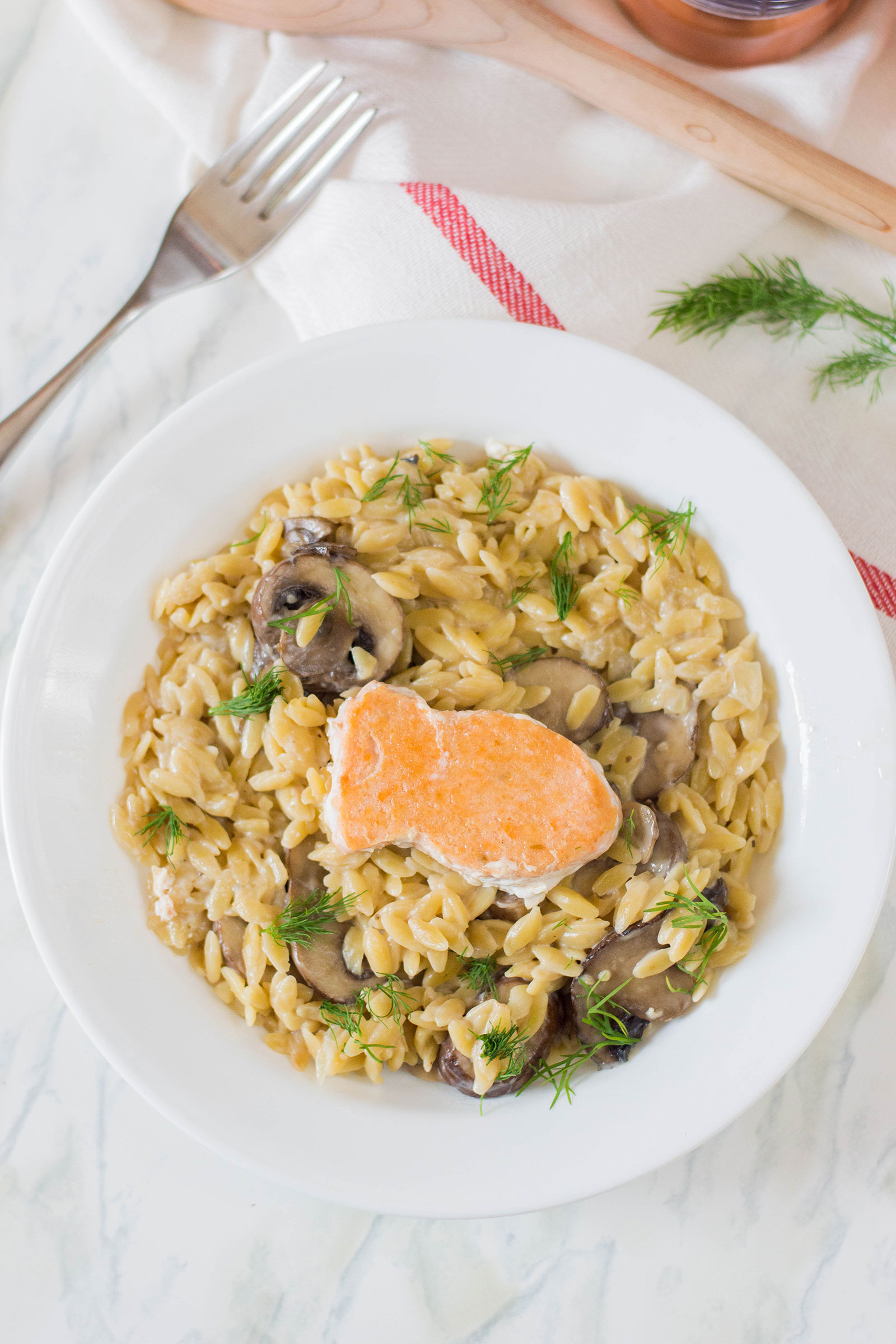 Creamy Orzo with Fried Salmon