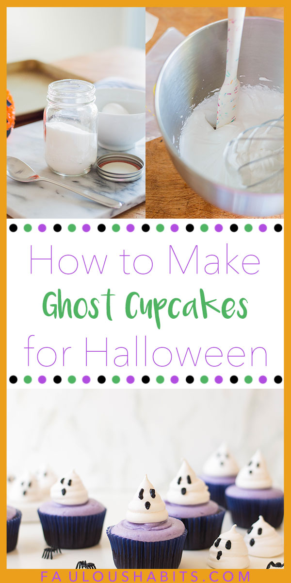 Here's our step-by-step guide on how to make Ghost Cupcakes for Halloween. Made of meringue cookies and smooth buttercream frosting, this Halloween treat is one for the books! #halloweendesserts