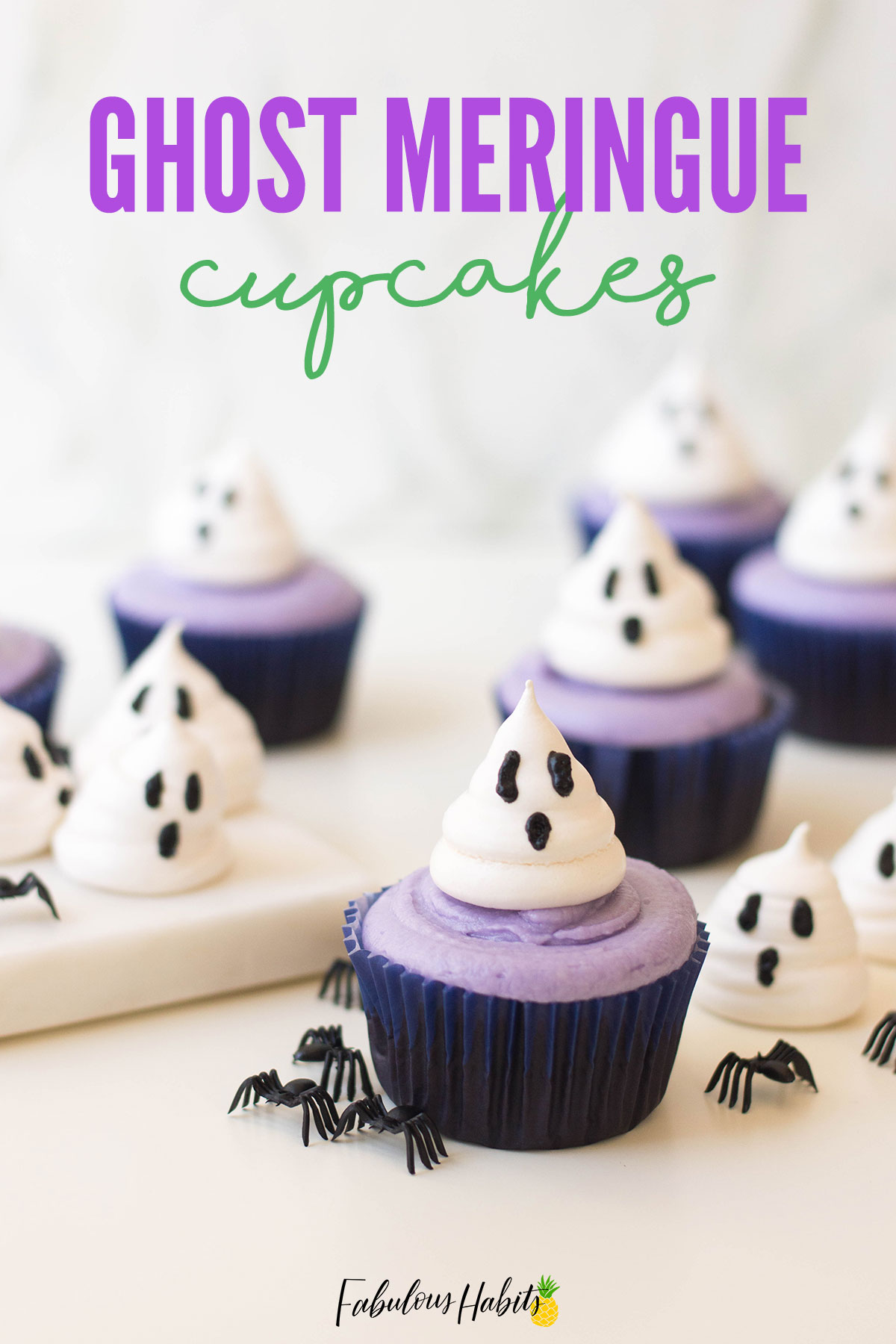 Halloween Ghost Cupcakes for your spooky sweet table. The kids will love making this Halloween recipe with you. Roll up your sleeves - you've got some baking to do! #halloweendesserts