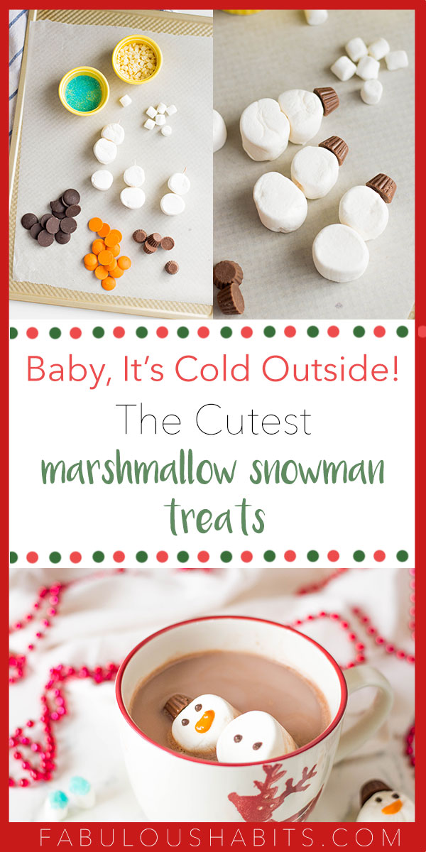 Looking for a cute recipe for the holiday season? Don't have a lot of times on your hands? Then these Marshmallow Snowman Treats are your solution! Whip them up with the kids and elevate your next cup of hot cocoa. #marshmallowsnowmen