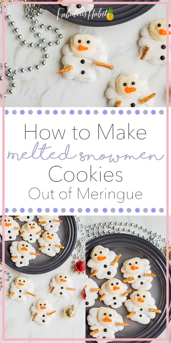 These snowmen meringue cookies will surely melt your heart. They're incredibly adorable and full of flavour! #meringuecookies