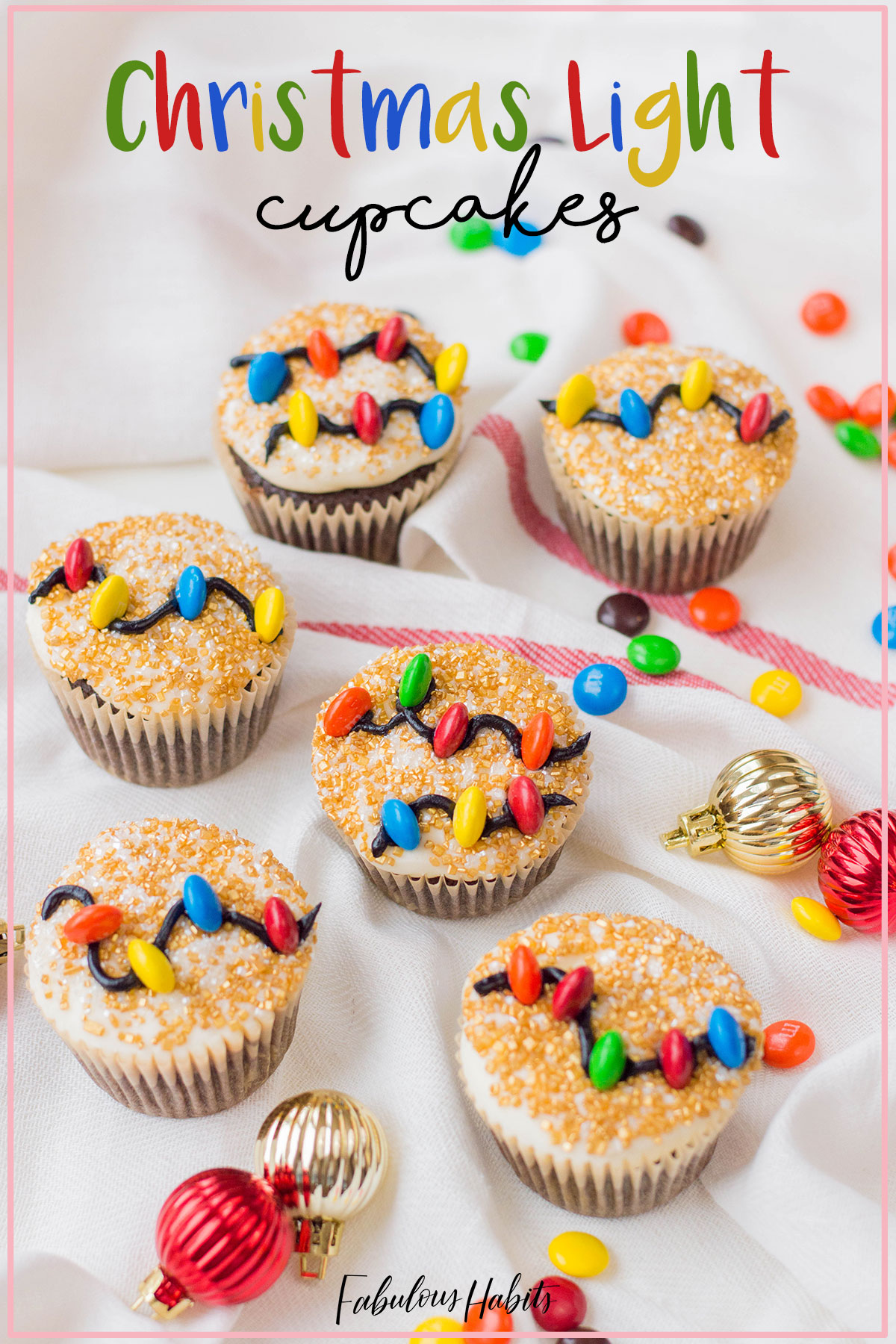 These Christmas Light Cupcakes are perfect for the holiday season. They're also very easy to make, so your kids will love creating them with you! #holidaybaking