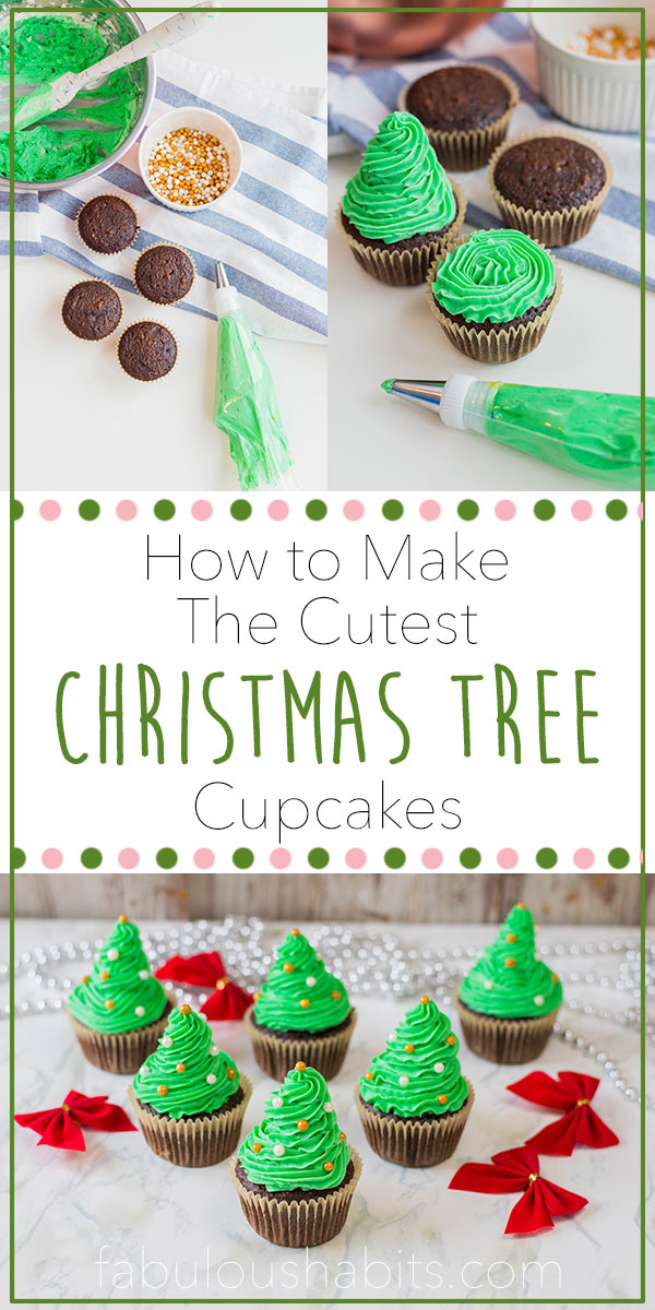 How to make the cutest Christmas tree cupcakes - and it's made up of pure, delicious, homemade buttercream! Merry Christmas to your sweet tooth! #christmasdessert