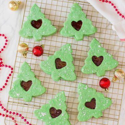Christmas Tree Linzer Cookies