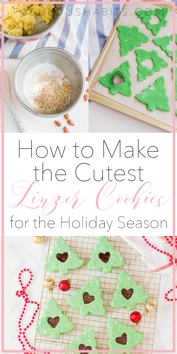 Here's how to make the cutest Linzer cookies for the holiday season. These ones are so festive because they are shaped like Christmas trees! #linzercookies