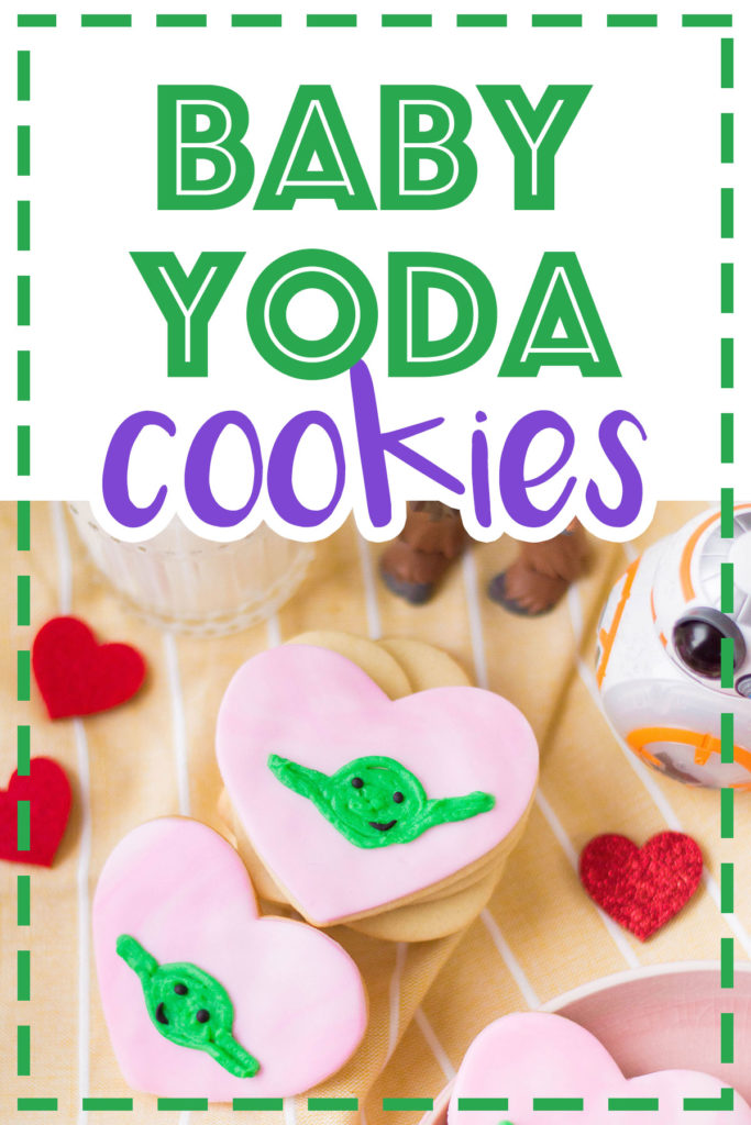 Too cute, these are. Celebrate Valentine's Day with these ultra cute heart-shaped Yoda Sugar Cookies. The force can be romantic, too! #valentinesdayrecipes #starwarscookies