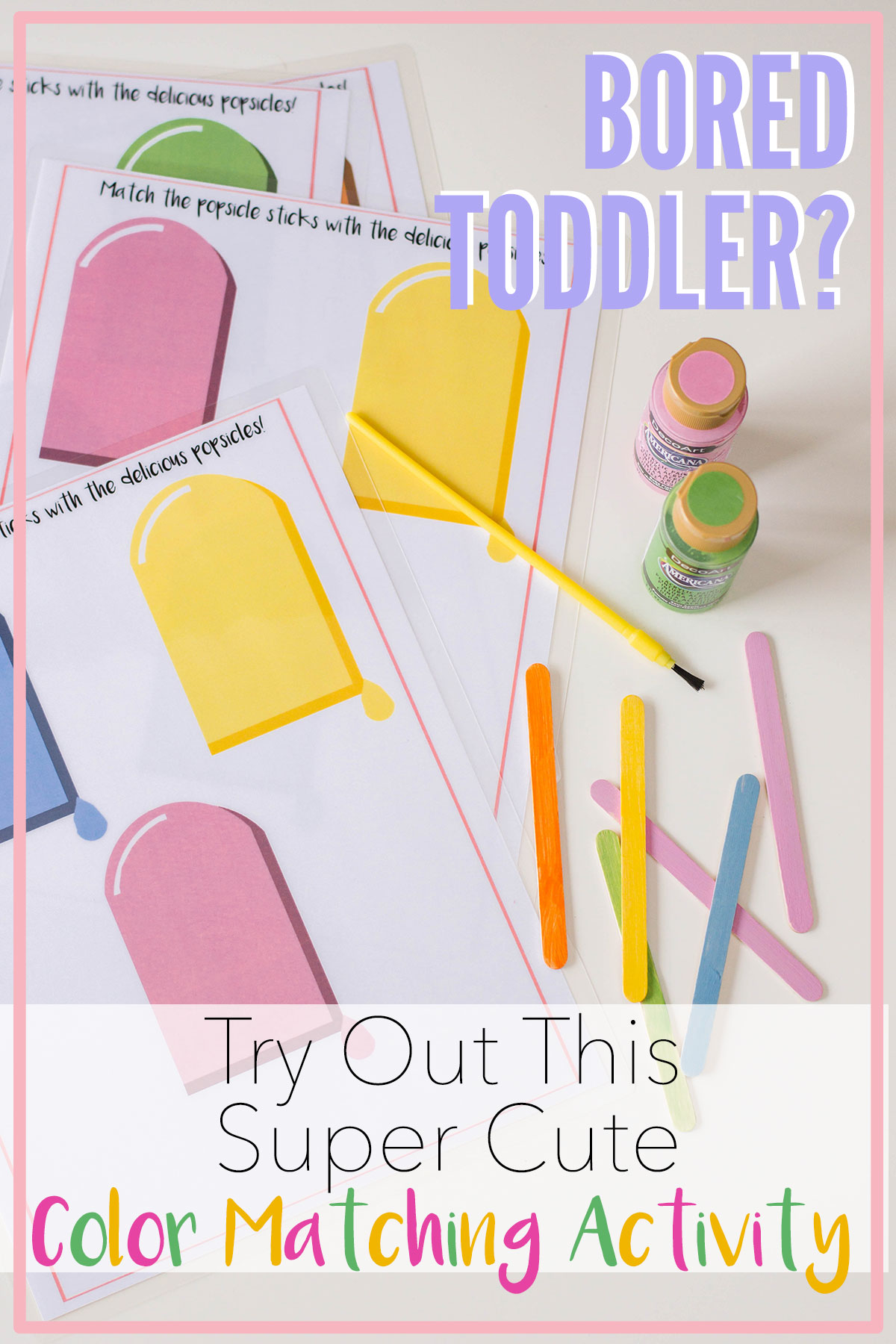 An easy DIY color matching activity that's perfect for toddlers and preschoolers. Teach your little one all about colors with this popsicle stick activity. #toddleractivities