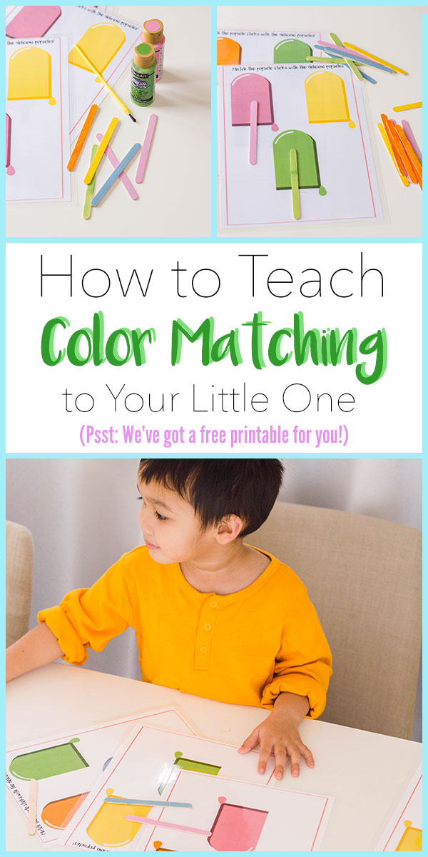 This popsicle stick color matching activity is perfect for toddlers! Teach them all about different colors with this easy DIY activity. #DIYtoddleractivity