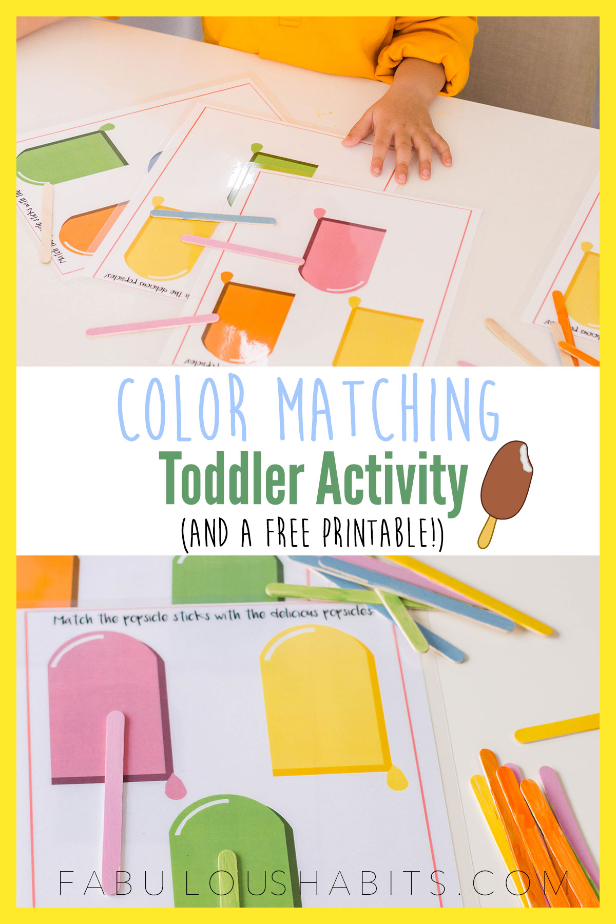 Looking for an easy STEM activity for your preschooler? This color matching activity uses popsicle sticks and is a super easy DIY! #toddleractivity