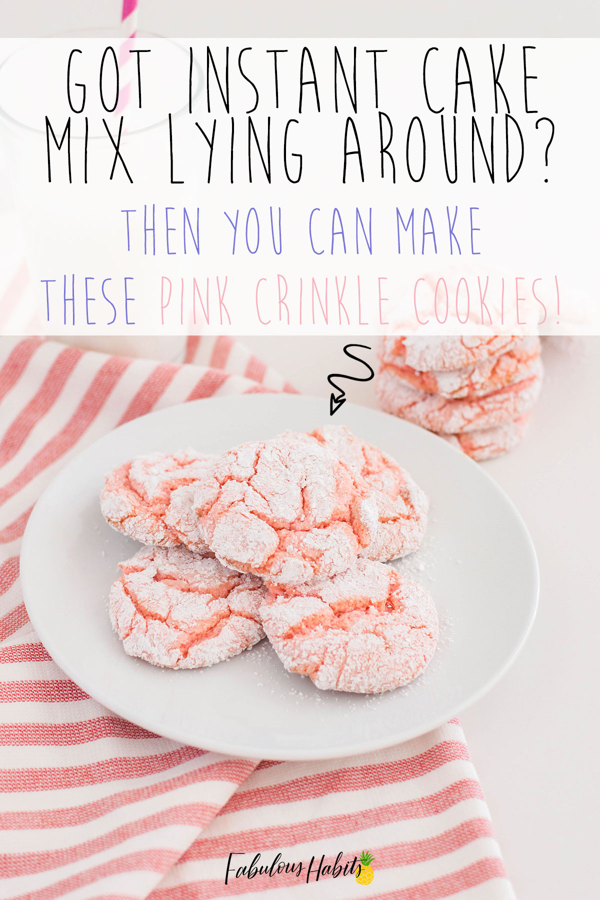 If you have instant cake mix and don't necessarily want to make another cake... here's a great recipe: Pink Crinkle Cookies. Who knew you could make cookies out of cake mix?! Awesome! #crinklecookies