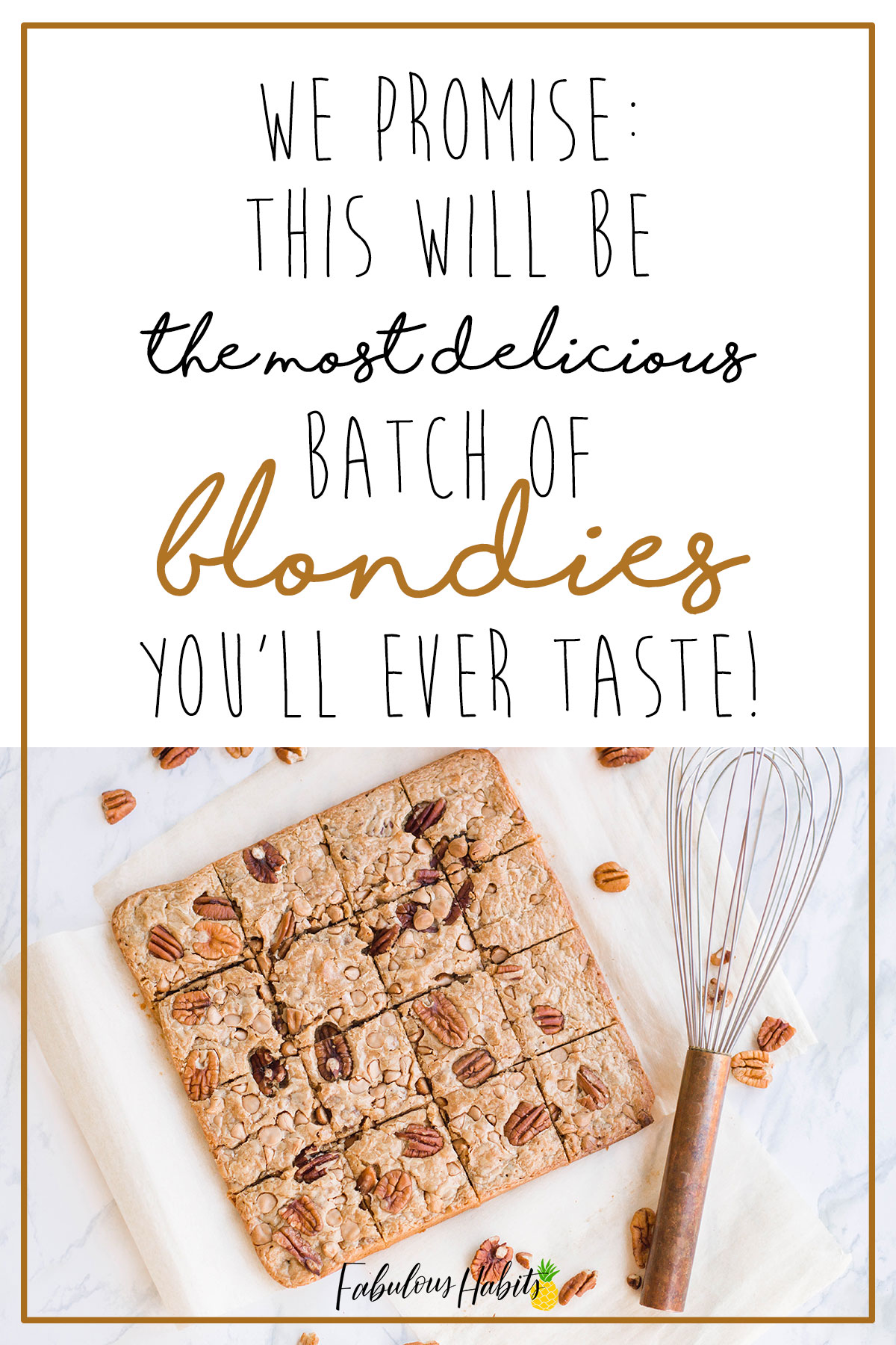 The best blondies recipe you'll ever try... promise! We are beaming with pride with how perfect our Caramel Pecan Blondies turned out! #blondiebrownies