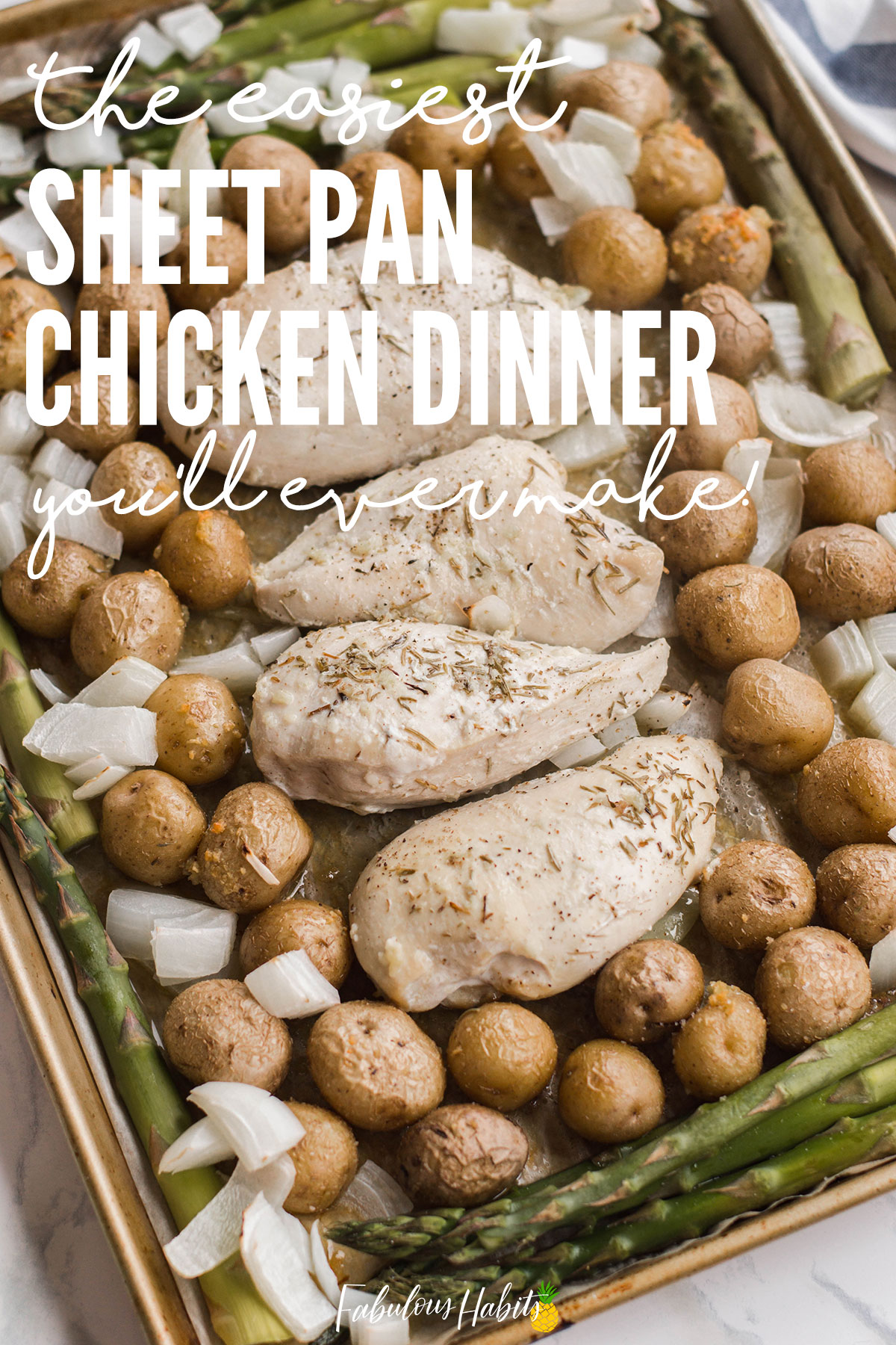Folks, this is the easiest sheet pan dinner you'll ever make. Filled with delicious chicken and potatoes - and a butter garlic sauce that's out of this world! #easyweeknightdinners