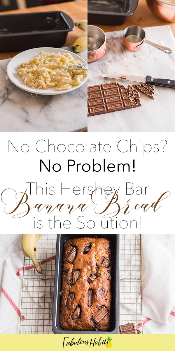 Run out of chocolate chips but craving a good chocolate banana bread? No worries! My Hershey Bar Banana Bread is the perfect solution! #bananabread